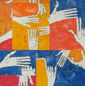 Mani, 70x70cm, pastello ad olio su carta - collage, 2013